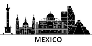 Mexico architecture vector city skyline, travel cityscape with landmarks, buildings, isolated sights on background royalty free illustration
