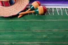 Mexico background border mexican sombrero maracas fiesta wood. Mexico background border mexican sombrero maracas wood Royalty Free Stock Photos