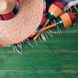 Mexico background mexican sombrero cinco de mayo festival border maracas. Mexico background mexican sombrero cinco de mayo festival border royalty free stock images
