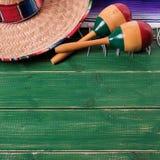 Mexico background sombrero maracas cinco de mayo border square format. Mexico background sombrero maracas cinco de mayo border stock photos