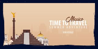 Mexico banner. Time to Travel. Journey, trip and vacation. Vector flat illustration. Mexico banner. Time to Travel. Journey, trip and vacation. Vector flat Stock Image