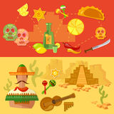 Mexico banners Mexican culture and food Stock Photos