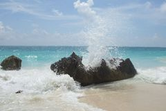 Mexico - beach with splashing sea stock photo