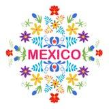 Mexico blommor, modell och beståndsdelar Traditionell mexicansk orname Arkivbilder
