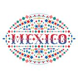 Mexico bright word and Mexican traditional embroidery motif. Festive design element with fiesta style folk art pattern. Western shapes of text. Colorful ethnic stock illustration