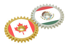 Mexico and Canada flags on a gears, 3D rendering Royalty Free Stock Photography