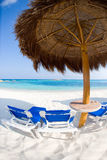 Mexico cancun. Table and chairs on sandy beach in mexico Royalty Free Stock Photos