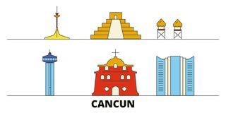 Mexico, Cancun flat landmarks vector illustration. Mexico, Cancun line city with famous travel sights, skyline, design. Mexico, Cancun flat landmarks vector vector illustration