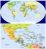 Mexico & Caribbean & World. World map and Close up of Mexico & Caribbean Stock Photography