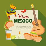 Mexico celebration event with culture tradition. Vector illustration royalty free illustration