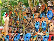 Mexico, Chichen Itza Mayan mask on mexican market Royalty Free Stock Photos