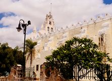 Mexico church cathedral Merida colonial architecture Royalty Free Stock Images