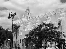Mexico church cathedral Merida colonial architecture historial yucatan black and white Stock Photos