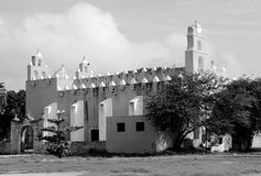 Mexico church cathedral Merida colonial architecture historial yucatan black and white Royalty Free Stock Photo