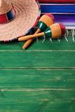 Mexico cinco de mayo border background mexican sombrero maracas royalty free stock photography