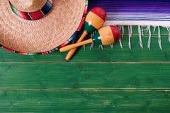 Mexico cinco de mayo border background mexican sombrero maracas. Mexico cinco de mayo border background mexican sombrero Stock Image
