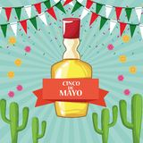 Mexico cinco de mayo celebration. Card with cactus and pennants cartoons vector illustration graphic design royalty free illustration