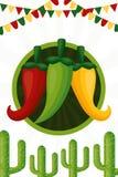 Mexico cinco de mayo. Chili pepper cactus celebration garland cinco de mayo vector illustration vector illustration