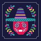 Mexico cinco de mayo skull stock illustration