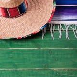 Mexico cinco de mayo fiesta wood background mexican sombrero square format. Mexico cinco de mayo fiesta wood background mexican sombrero royalty free stock photo