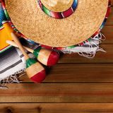 Mexico cinco de mayo wood background mexican sombrero above view. Mexico cinco de mayo wood background mexican sombrero Royalty Free Stock Photography
