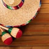 Mexico cinco de mayo wood background mexican sombrero square format. Mexico cinco de mayo wood background mexican sombrero Royalty Free Stock Photo