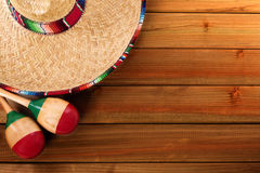 Mexico cinco de mayo wood background mexican sombrero. Top view Royalty Free Stock Images