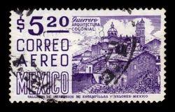 Church Santa Prisca, Taxco, Mexico. MEXICO - CIRCA 1967: a stamp printed in Mexico, shows cityscape with Church Santa Prisca, Taxco, Mexico, circa 1967 royalty free stock image