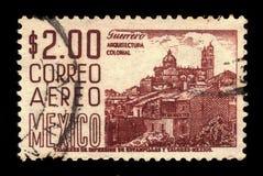Church Santa Prisca, Taxco, Mexico. MEXICO - CIRCA 1967: a stamp printed in Mexico, shows cityscape with Church Santa Prisca, Taxco, Mexico, circa 1967 stock photography