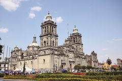 Mexico City. Cathedral in Mexico City seen from the sidewalk Royalty Free Stock Photo