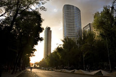 Mexico City. Reforma avenue in Mexico City at sunset Stock Photos