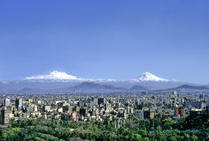 Mexico City. Aerial view of mexico City on a clear day without contamination. In the foreground Chapultepec Park, buildings and skyscrapers in the middle Stock Image