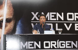 MEXICO CITY Actor Hugh Jackman. MEXICO CITY-MAY 26 2009: Actor Hugh Jackman Logan/Wolverine attends the X-MAN ORIGINS: WOLVERINE PhotoCall & Press conference at Royalty Free Stock Photos