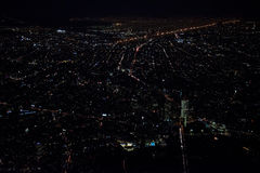 Mexico city aerial night view panorama of heavy traffic Stock Photos