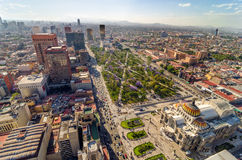 Mexico City Aerial View. An aerial view of Mexico City and the Palace of Fine Arts Royalty Free Stock Images