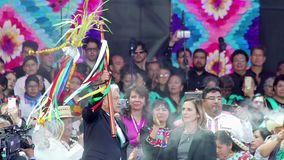 New Mexican President shows the baton. Mexico City 01/12/2018. Andres Manuel Lopez Obrador holds and shows the baton granted to him by the indigenous stock footage