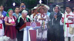 New Mexican President does a speech to the people. Mexico City 01/12/2018. Andres Manuel Lopez Obrador speaks to the people during his presentation as Mexican stock video footage