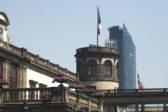 Mexico City architecture contrast. Old and new architecture contrasting in Mexico City, mexico. On the foreground The chapultepec castle and in the background Royalty Free Stock Photography