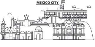 Mexico City architecture line skyline illustration. Linear vector cityscape with famous landmarks, city sights, design Royalty Free Stock Image