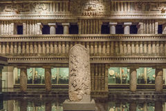 MEXICO CITY - AUGUST 1, 2016:  Interior of National Museum of Anthropology in Mexico City. Royalty Free Stock Photography