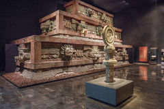 MEXICO CITY - AUGUST 1, 2016: Interior of National Museum of Anthropology in Mexico City. The National Museum of Anthropology is a national museum of Mexico. It Royalty Free Stock Photos
