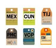 Mexico city cancun tijuana puerto montt campinas esmeraldas baggage tag Stock Illustration