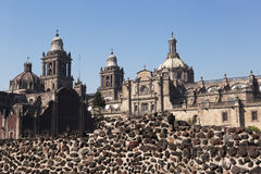 Mexico City Cathedral and Templo Mayor. Mexico City Cathedral as seen from the Templo Mayor ruins Royalty Free Stock Photography