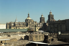 Mexico City Cathedral and Templo Mayor. Ruins in the foreground Stock Photo