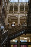 Stairs Main post office Mexico. Mexico city, CDMX, Mexico 7/28/18 Interior of Main Post Office, the beautiful Postal Palace of Mexico city also known as Correo stock image