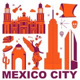 Mexico City culture travel vector set. Mexico City culture travel set, famous architectures and specialties in flat design. Business travel and tourism concept stock illustration