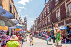 Mexico City downtown street view Royalty Free Stock Photo
