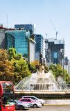 Diana Fountain Roundabout on Paseo de La Reforma in Mexico City. Mexico City, Mexico - February 15, 2018:   The Fountain of Diana the Huntress Fuente de la Diana Stock Photography