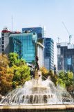 Diana Fountain Roundabout on Paseo de La Reforma in Mexico City. Mexico City, Mexico - February 15, 2018:   The Fountain of Diana the Huntress Fuente de la Diana Royalty Free Stock Photos