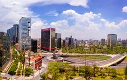 Mexico City Fuente de petroleos. Periferico and reforma avenue, sunny day royalty free stock photo